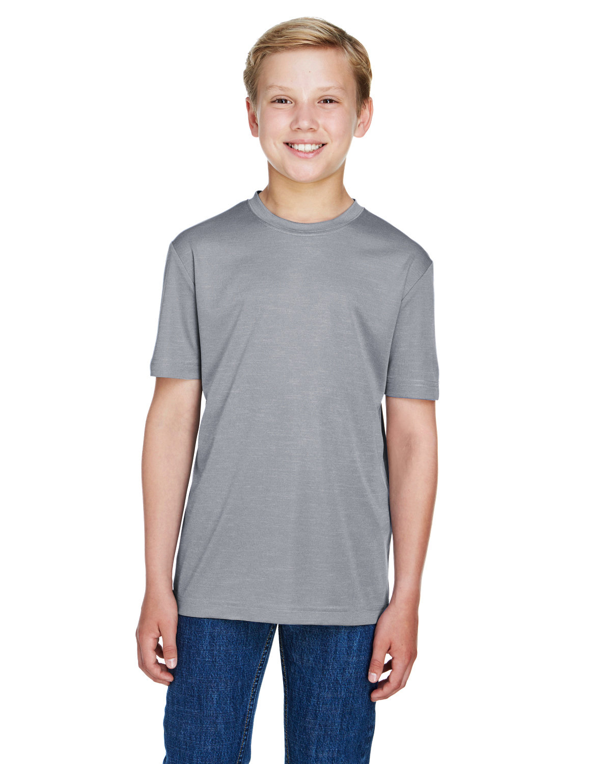 Team 365 Youth Sonic Heather Performance T-Shirt ATHLETIC HEATHER