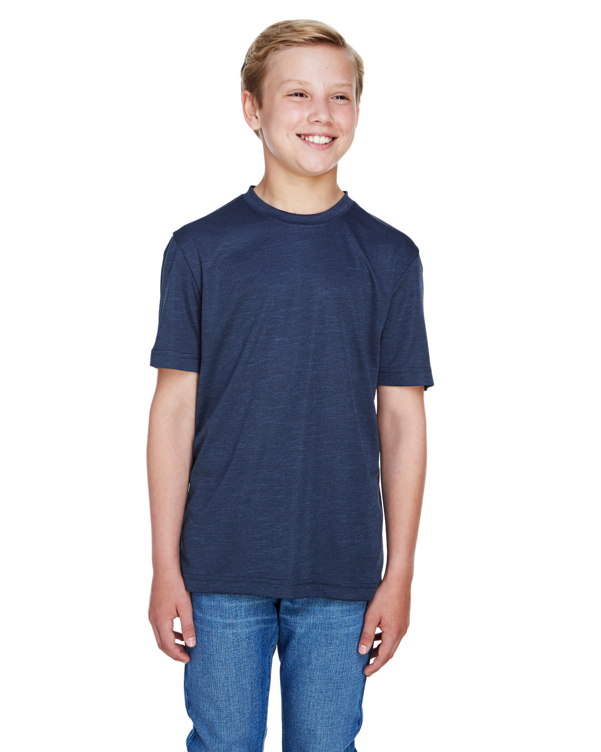 Team 365 Youth Sonic Heather Performance T-Shirt SP DRK NVY HTH