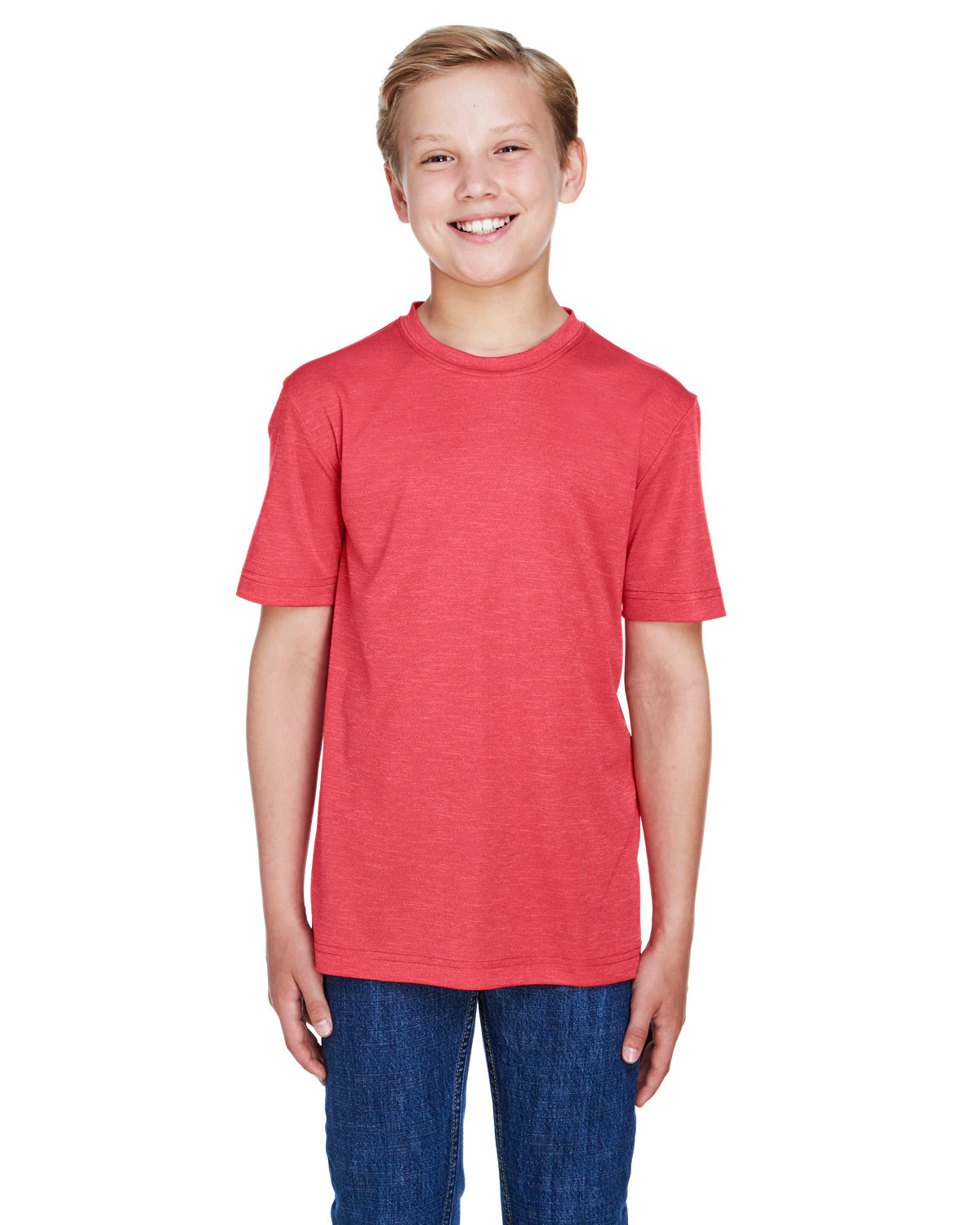 Team 365 Youth Sonic Heather Performance T-Shirt SP RED HEATHER