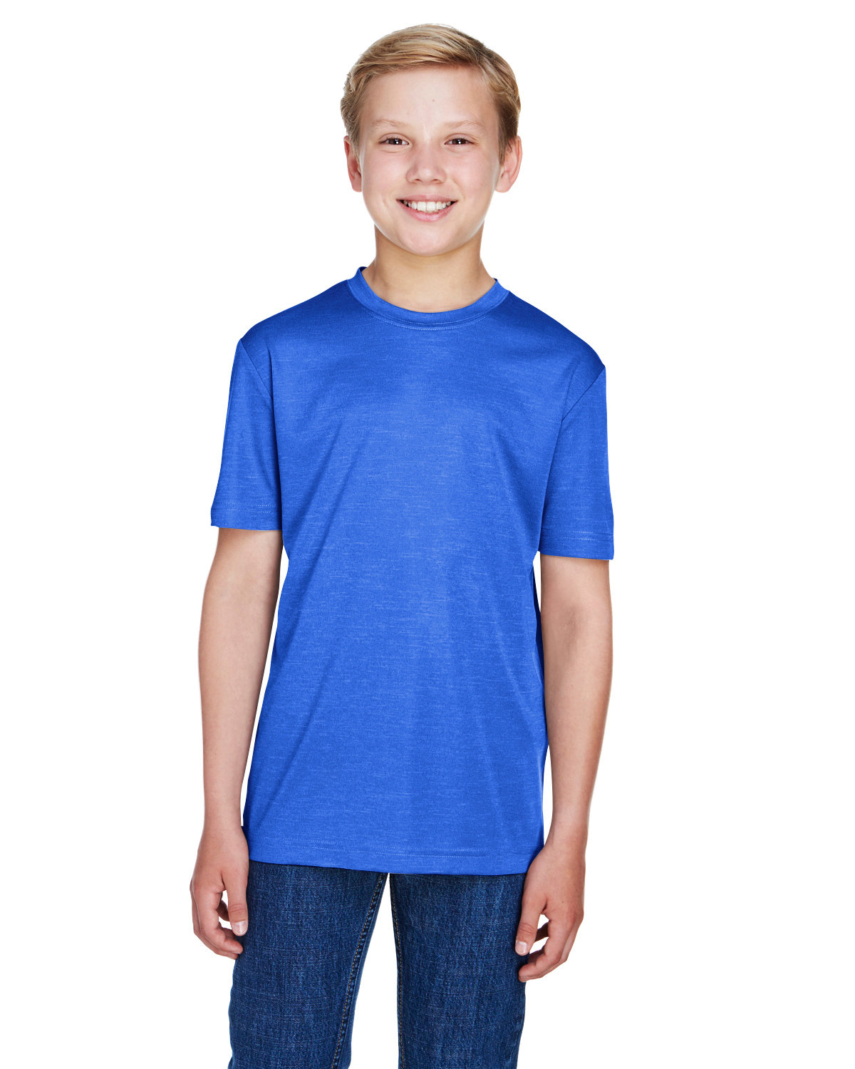 Team 365 Youth Sonic Heather Performance T-Shirt SP ROYAL HEATHER