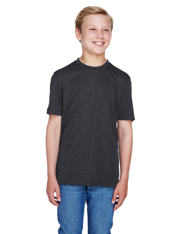 Team 365 Youth Sonic Heather Performance T-Shirt BLACK HEATHER