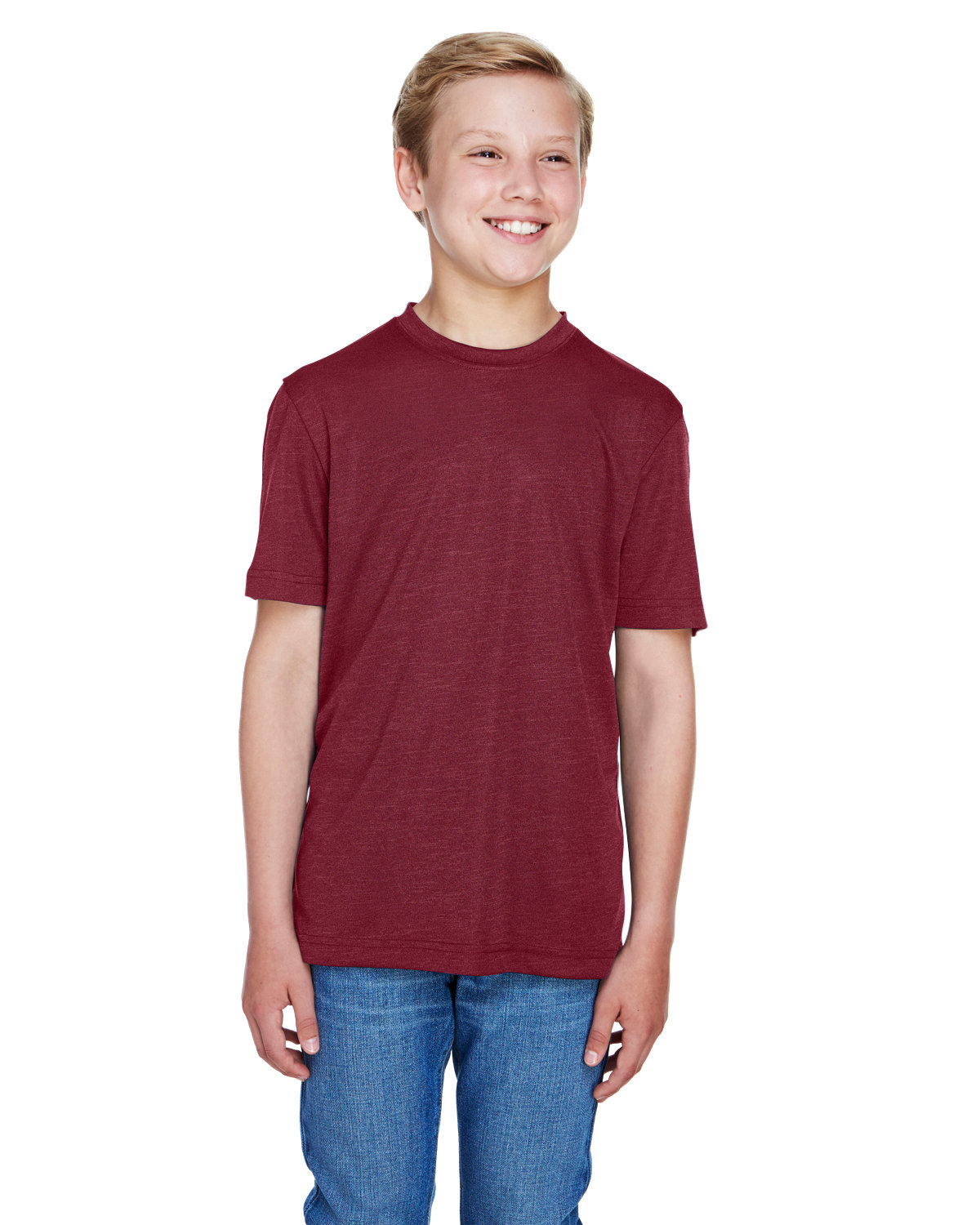 Team 365 Youth Sonic Heather Performance T-Shirt SP MAROON HTHR