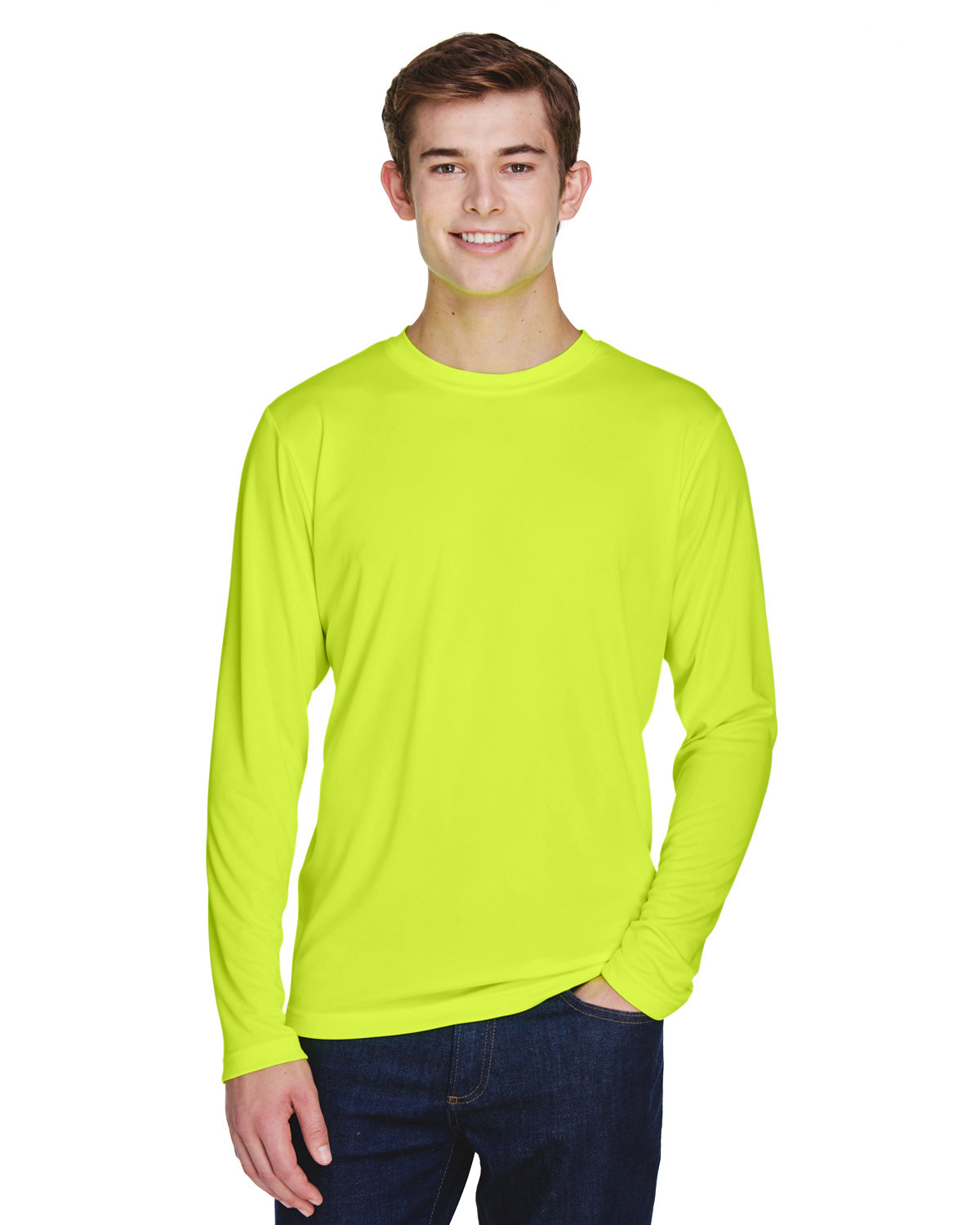 Team 365 Men's Zone Performance Long-Sleeve T-Shirt SAFETY YELLOW