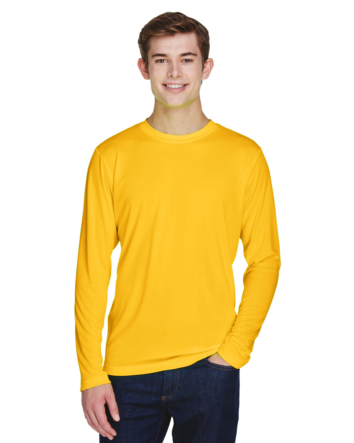 Team 365 Men's Zone Performance Long-Sleeve T-Shirt SP ATHLETIC GOLD