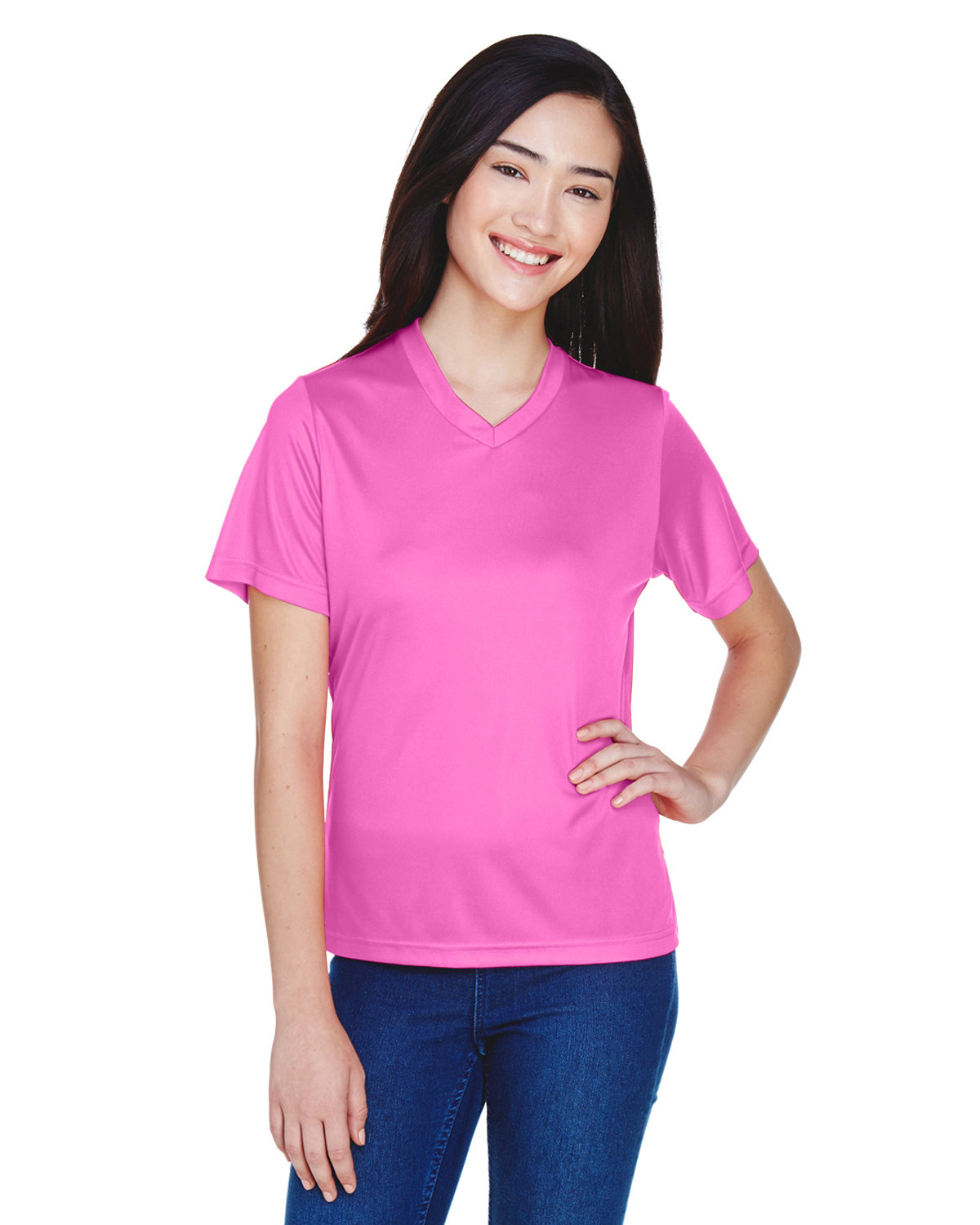 Team 365 Ladies' Zone Performance T-Shirt SP CHARITY PINK