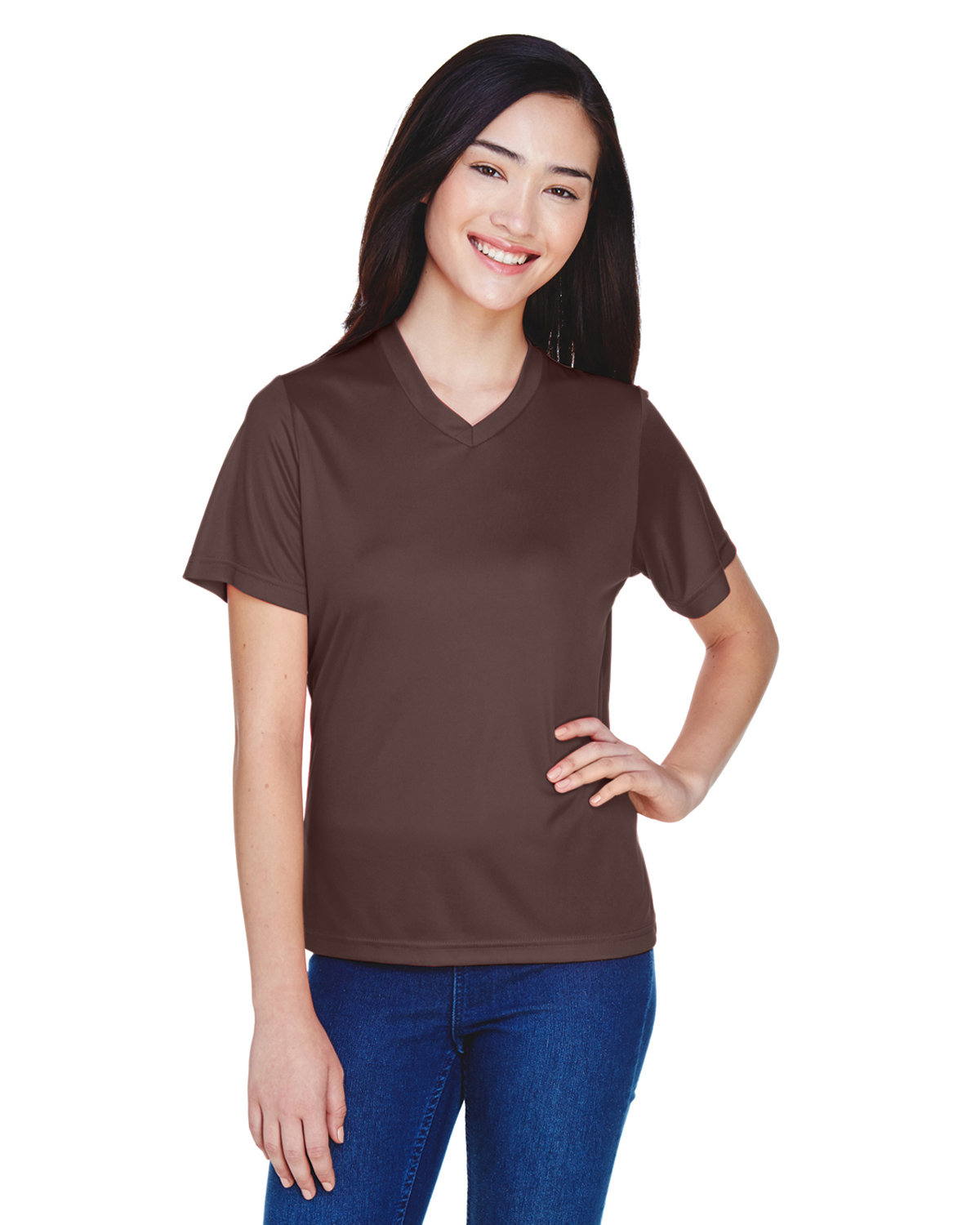 Team 365 Ladies' Zone Performance T-Shirt SPORT DARK BROWN