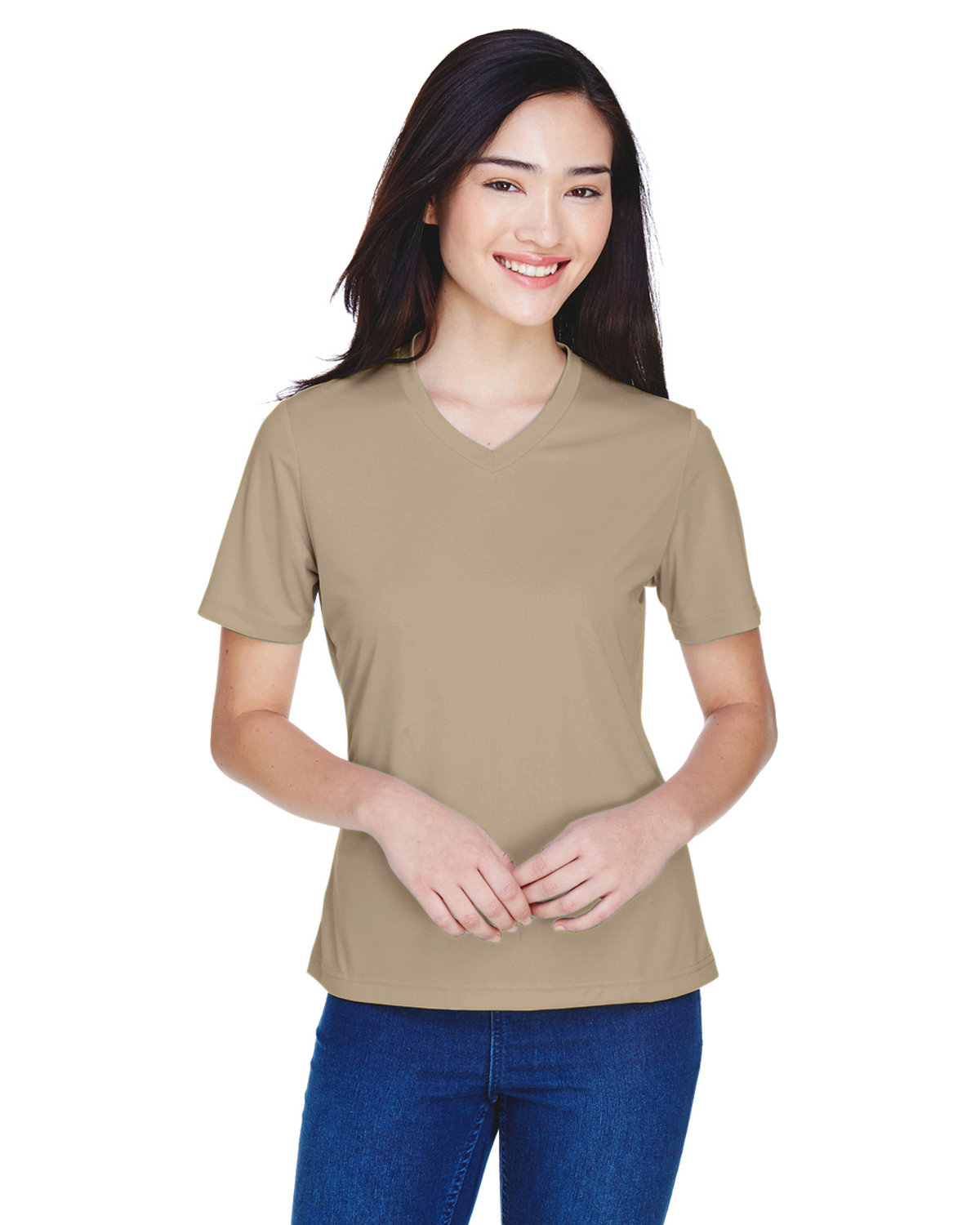 Team 365 Ladies' Zone Performance T-Shirt DESERT KHAKI