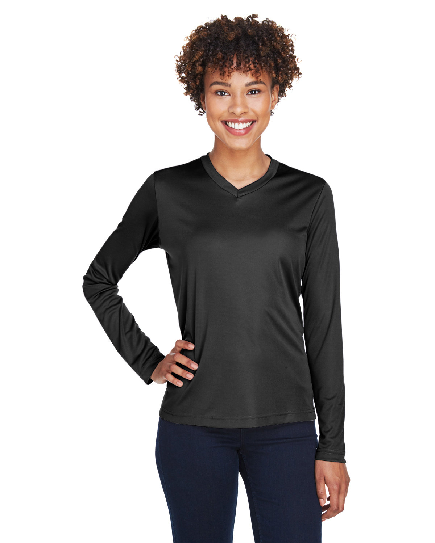 Team 365 Ladies' Zone Performance Long-Sleeve T-Shirt BLACK