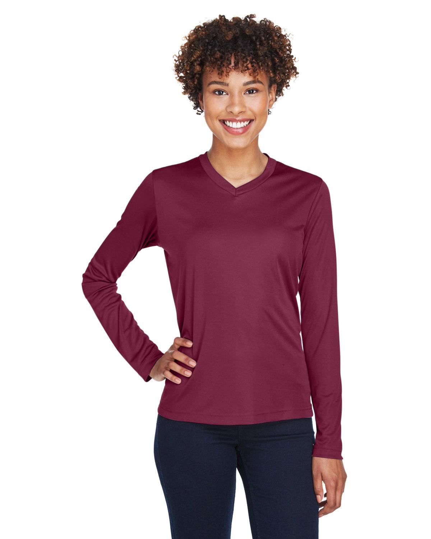 Team 365 Ladies' Zone Performance Long-Sleeve T-Shirt SPORT MAROON
