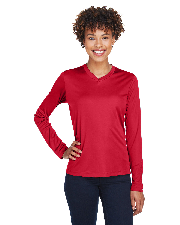 Team 365 Ladies' Zone Performance Long-Sleeve T-Shirt SPORT RED