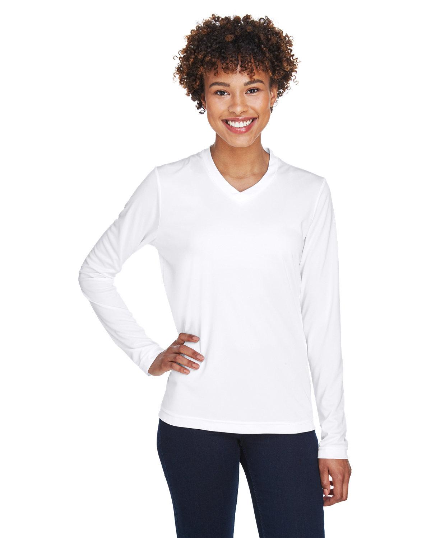 Team 365 Ladies' Zone Performance Long-Sleeve T-Shirt WHITE