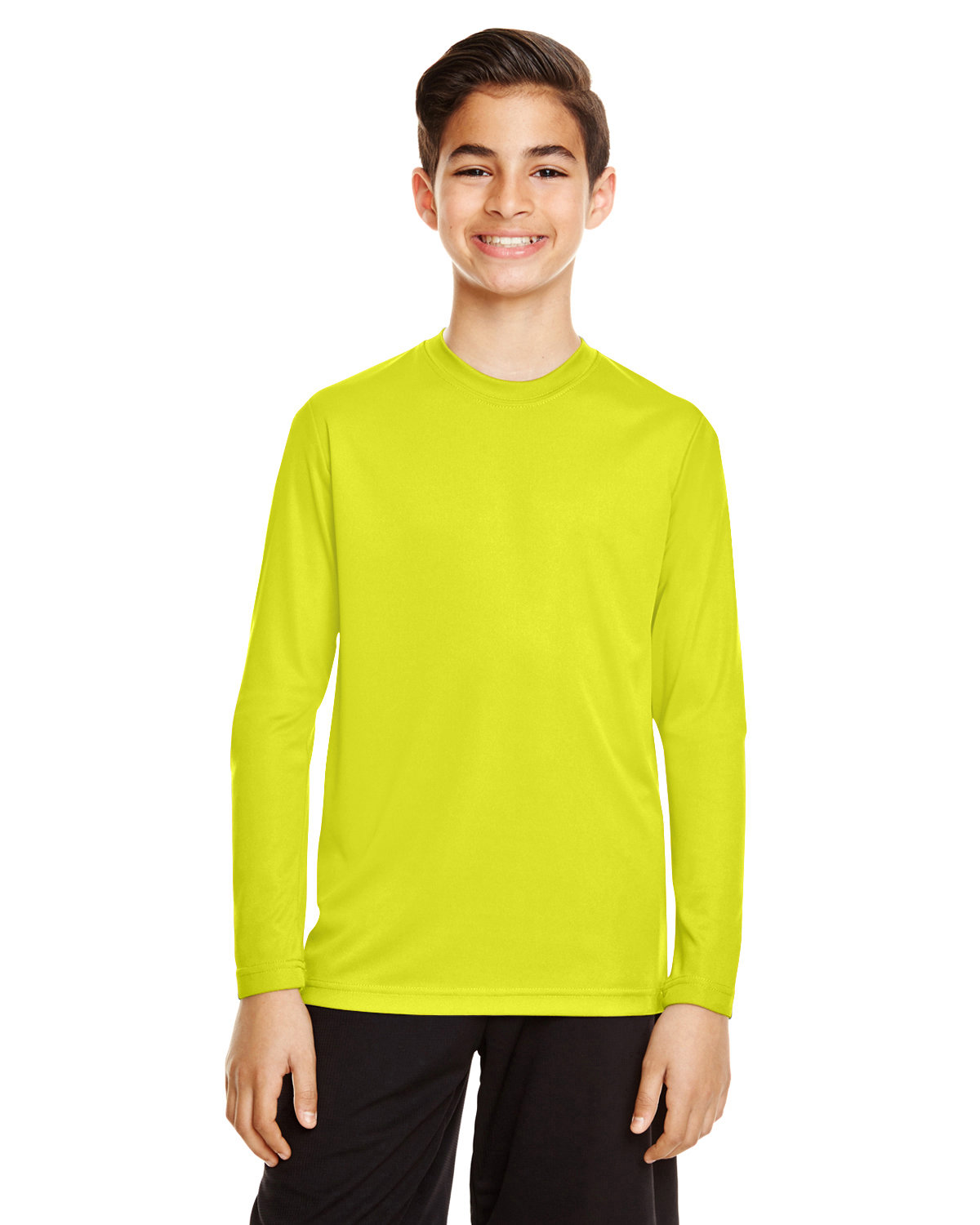 Team 365 Youth Zone Performance Long-Sleeve T-Shirt SAFETY YELLOW