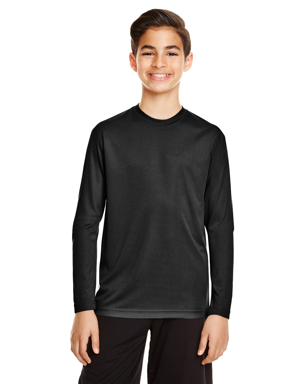 Team 365 Youth Zone Performance Long-Sleeve T-Shirt BLACK