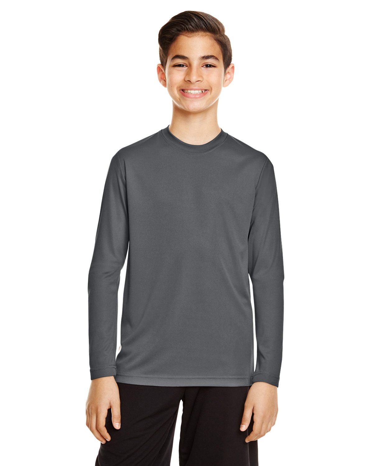 Team 365 Youth Zone Performance Long-Sleeve T-Shirt SPORT GRAPHITE