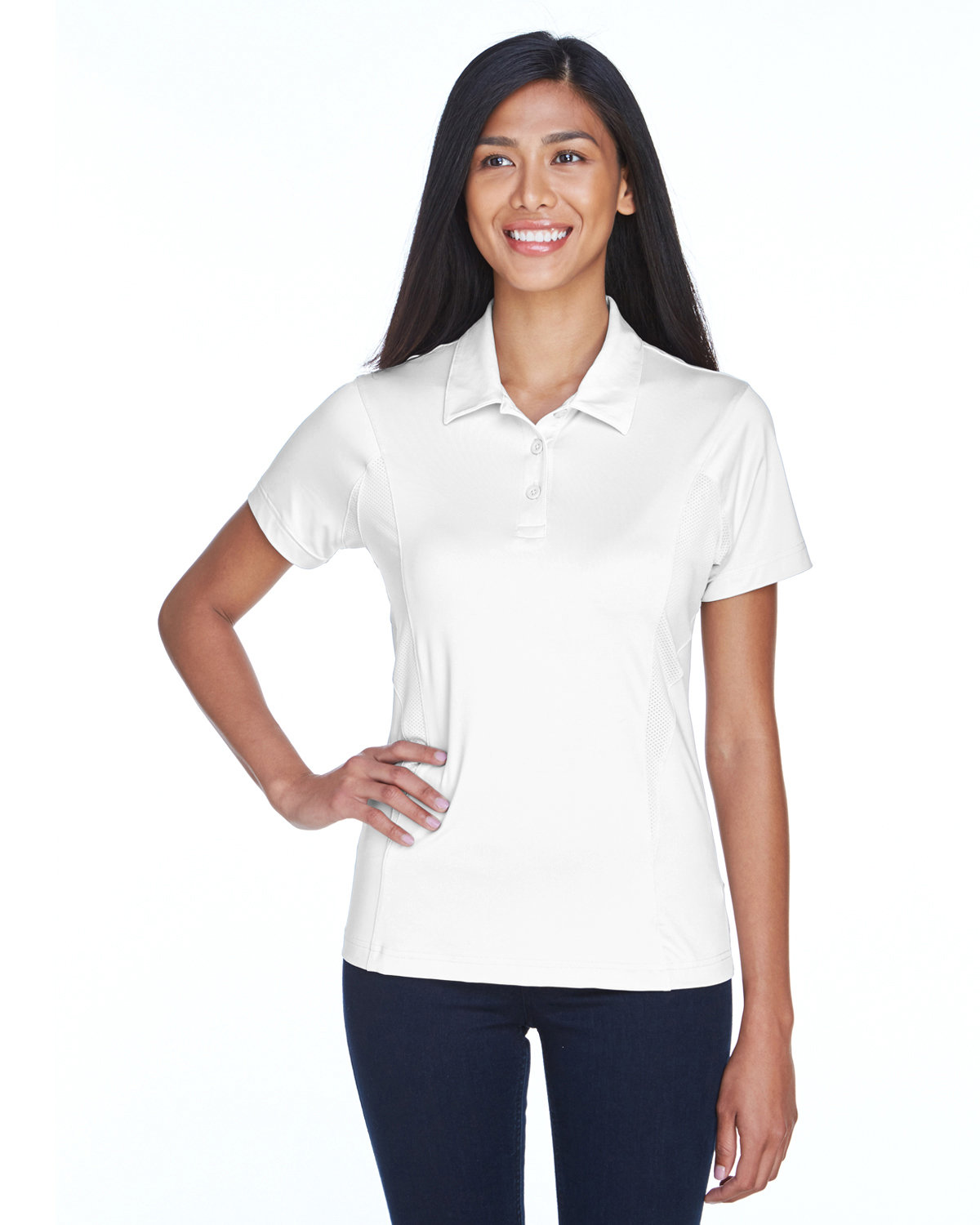 Team 365 Ladies' Charger Performance Polo WHITE