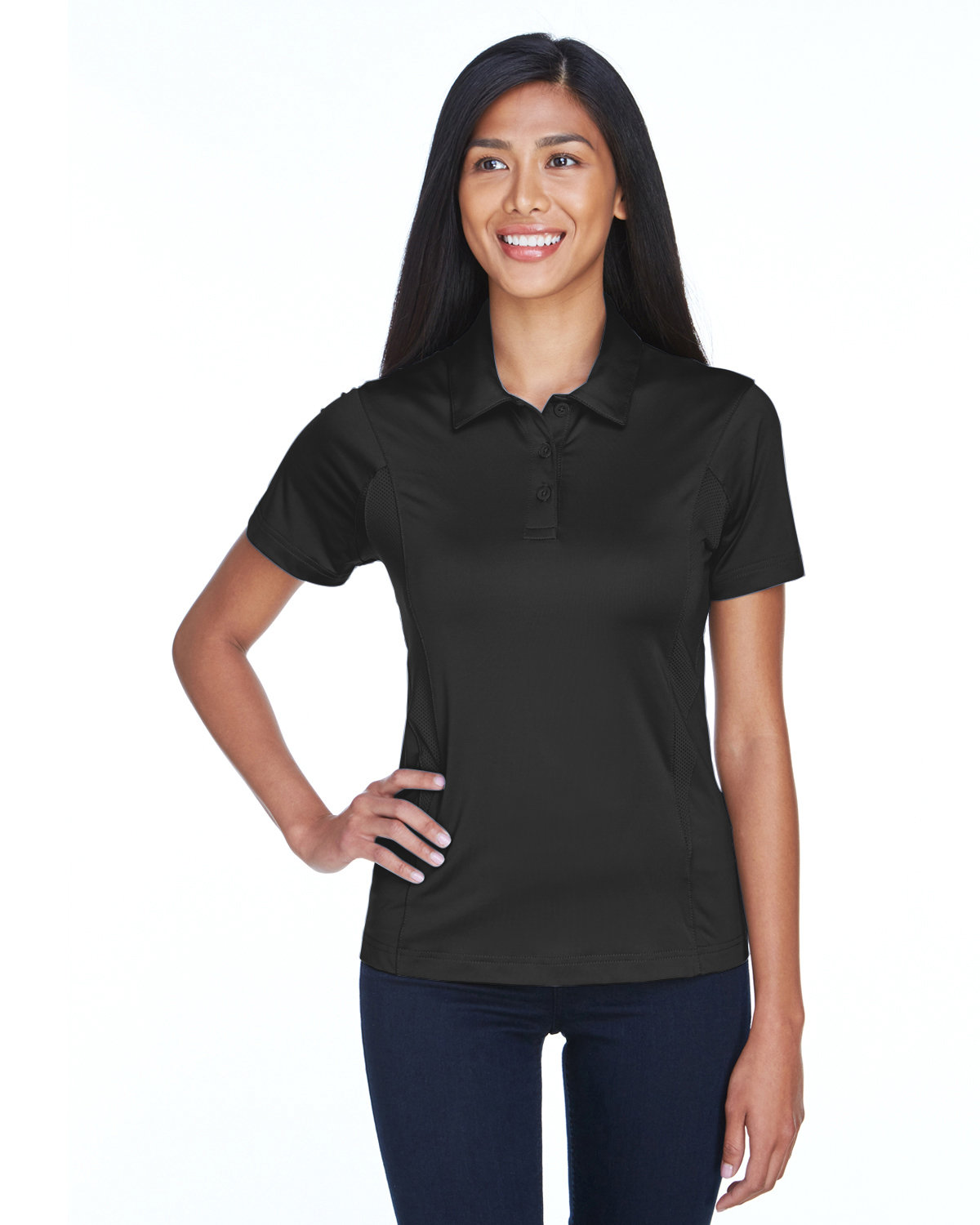 Team 365 Ladies' Charger Performance Polo BLACK
