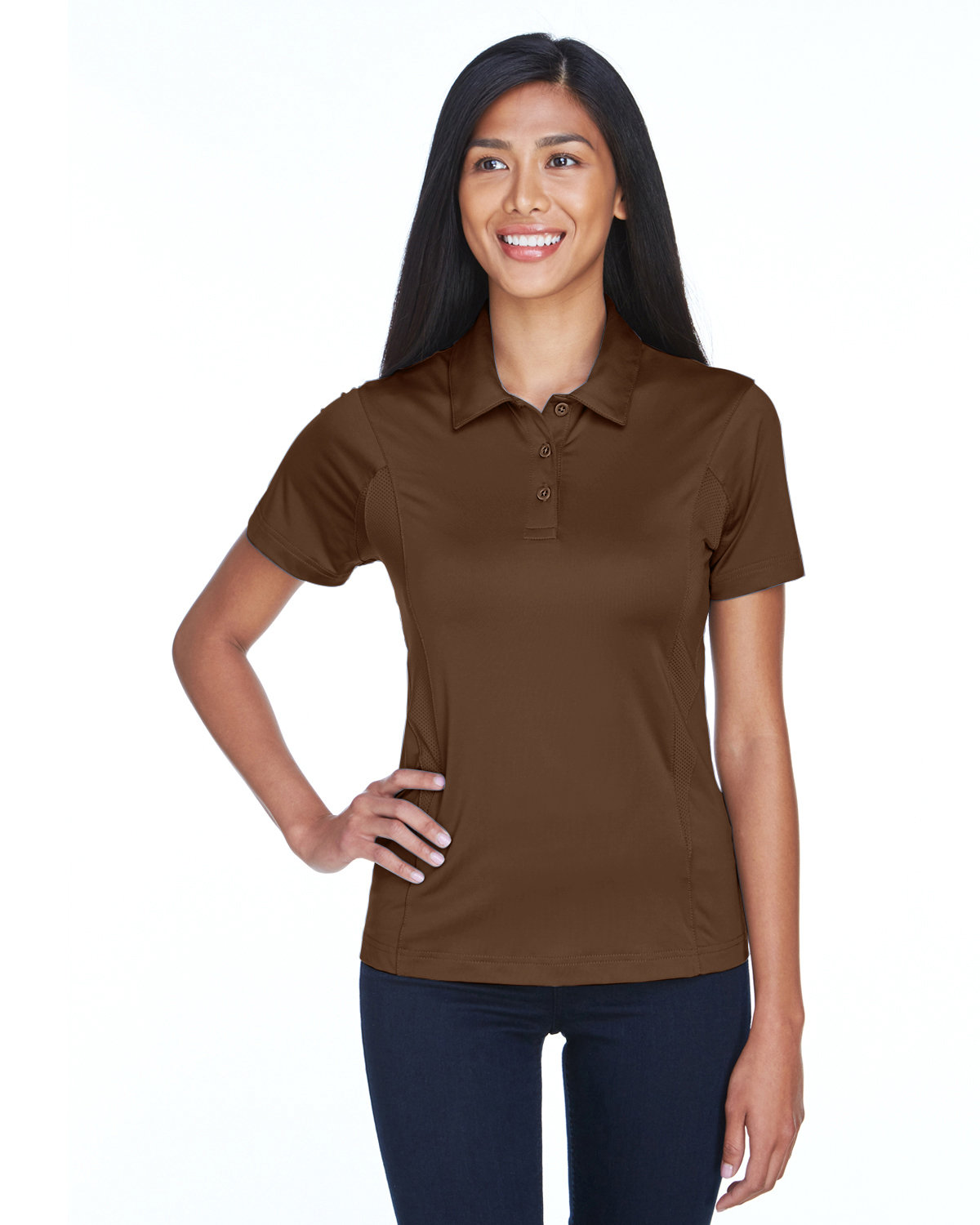 Team 365 Ladies' Charger Performance Polo SPORT DARK BROWN