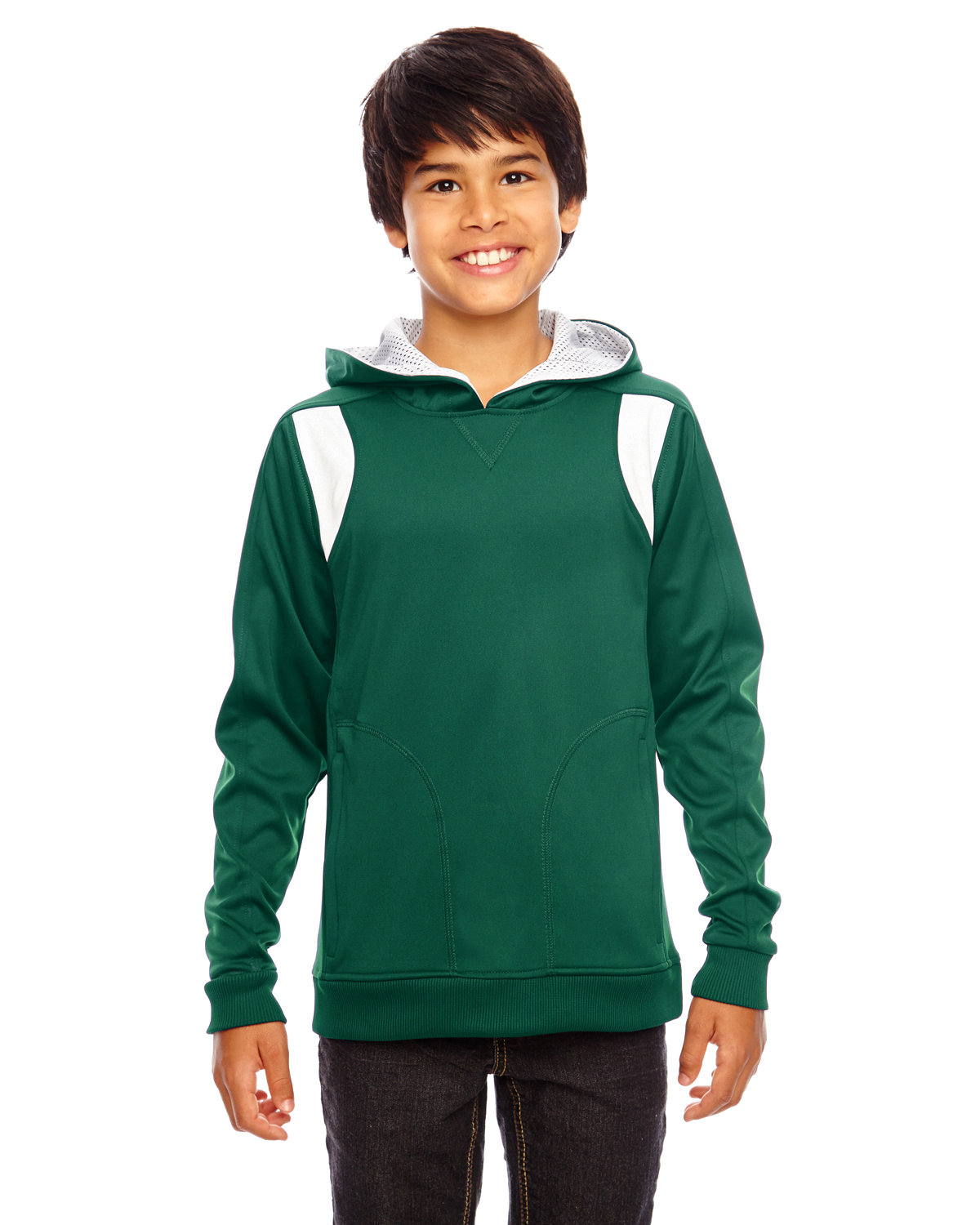 Team 365 Youth Elite Performance Hoodie SP FOREST/ WHITE