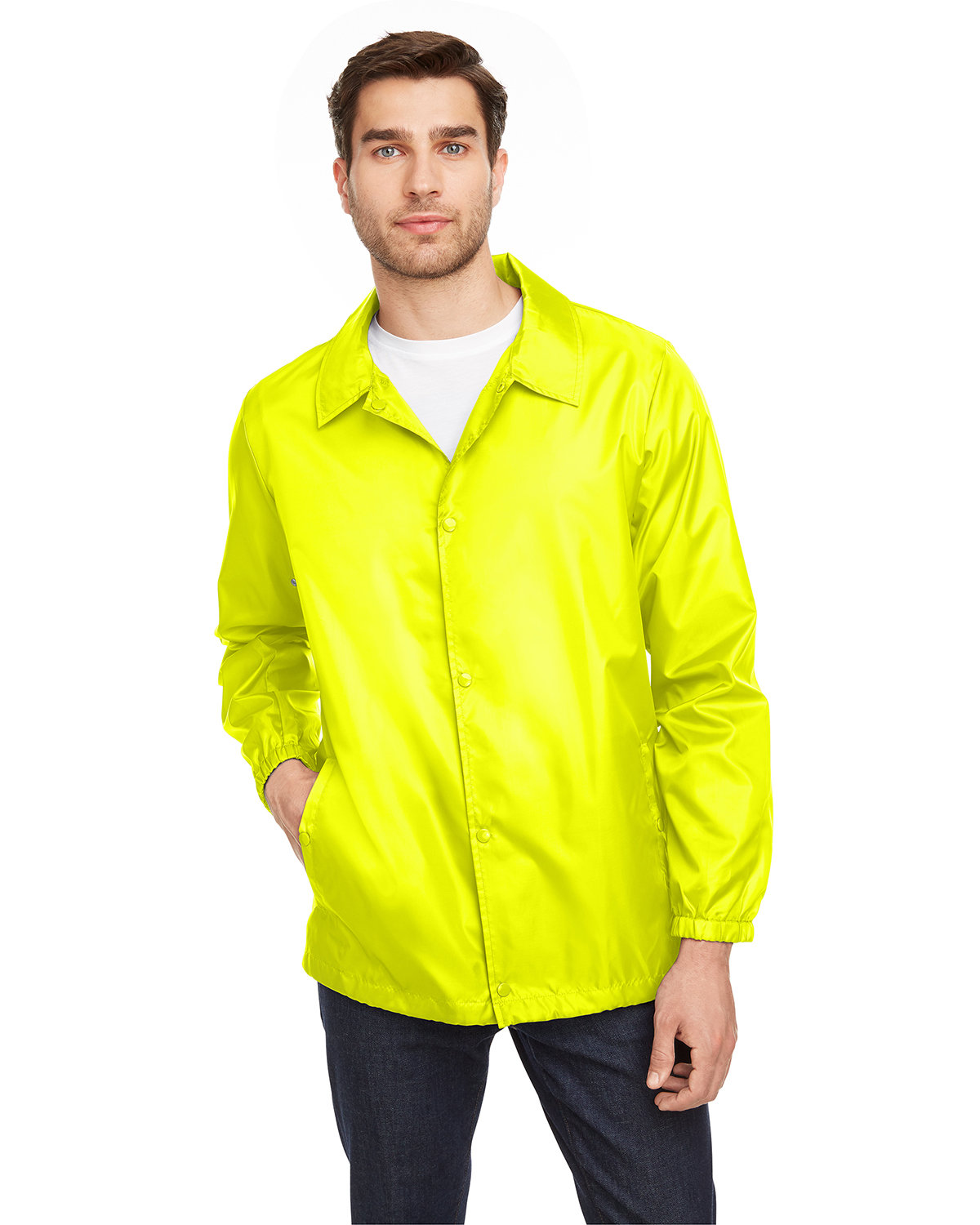 Team 365 Adult Zone Protect Coaches Jacket SAFETY YELLOW