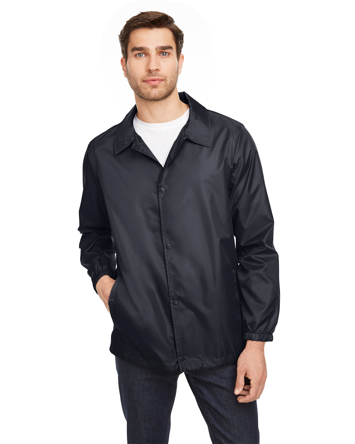 Team 365 Adult Zone Protect Coaches Jacket BLACK