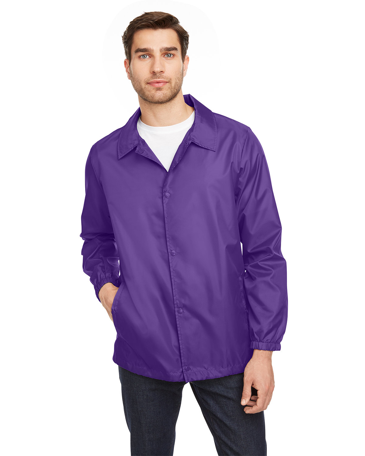 Team 365 Adult Zone Protect Coaches Jacket SPORT PURPLE