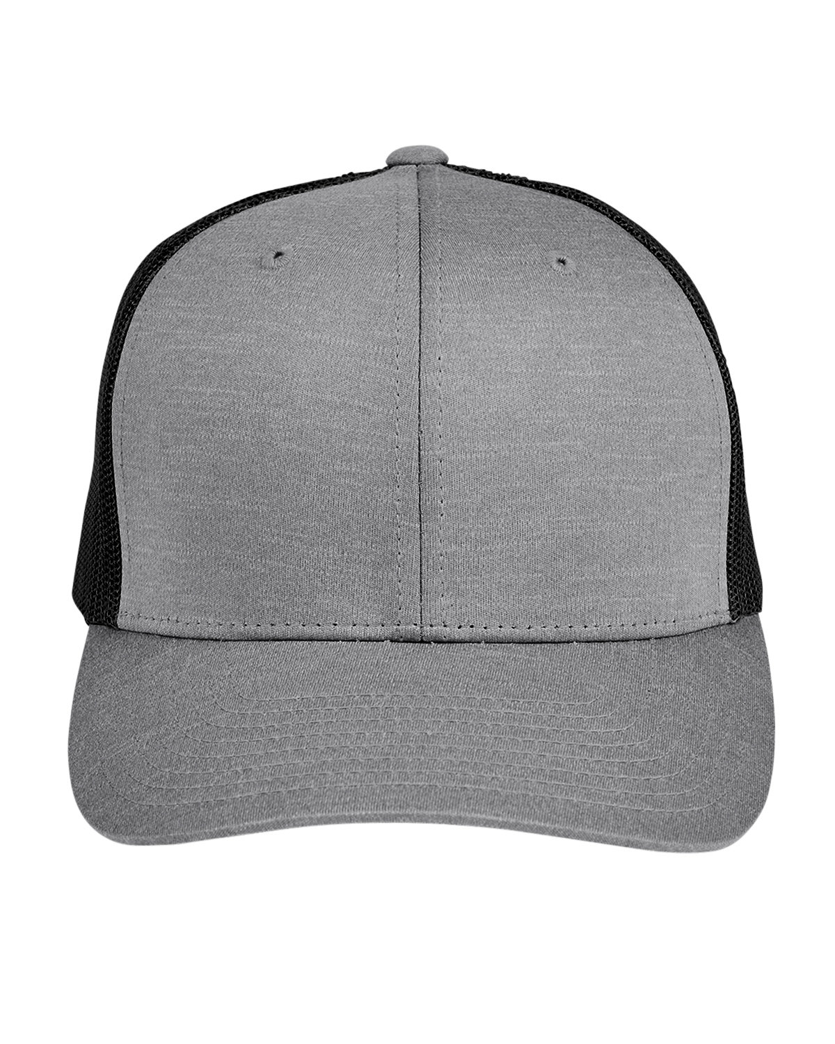 Team 365 by Yupoong® Adult Zone Sonic Heather Trucker Cap DK GRY HTH/ BLK