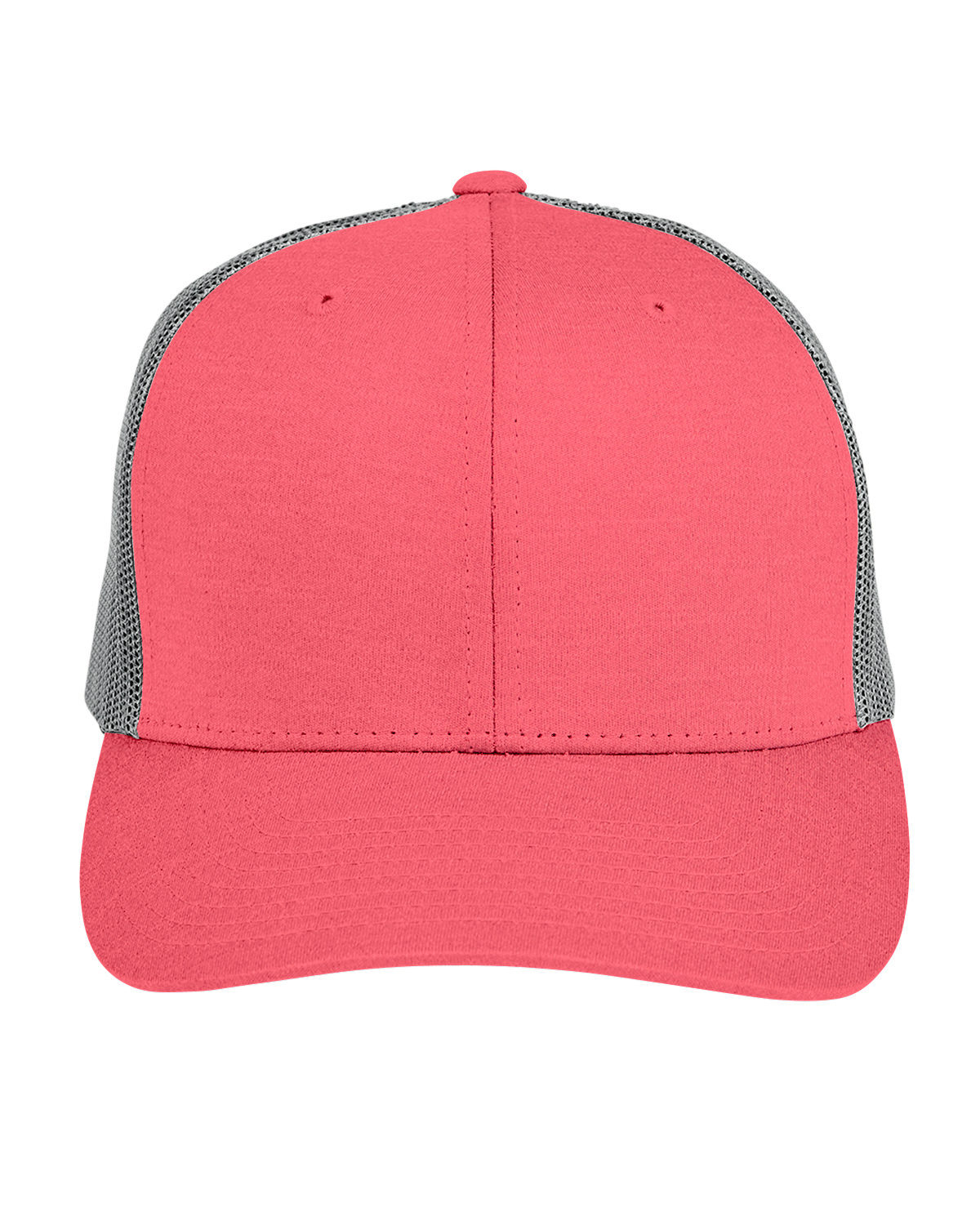 Team 365 by Yupoong® Adult Zone Sonic Heather Trucker Cap SP RED HT/ SP GR