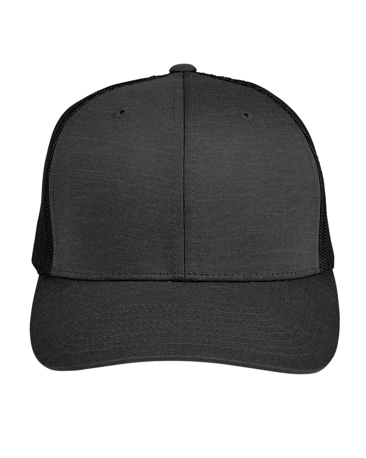 Team 365 by Yupoong® Adult Zone Sonic Heather Trucker Cap BLK HTHR/ BLACK
