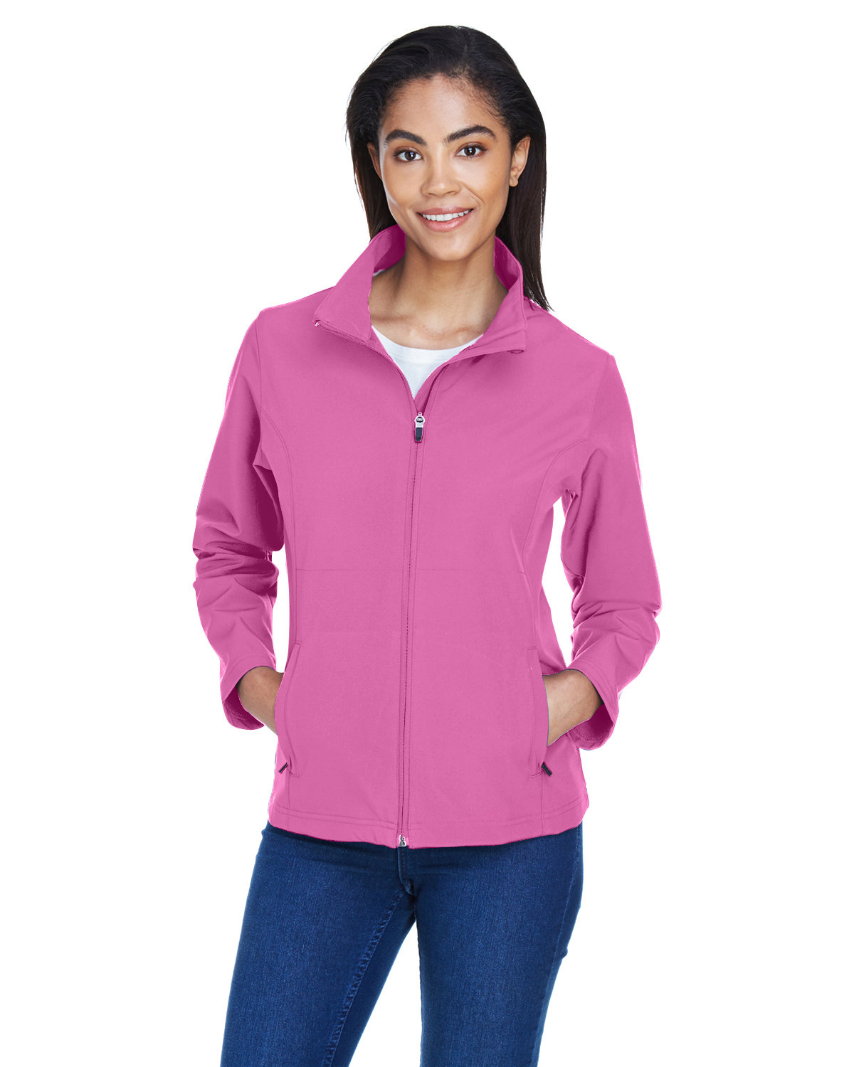 Team 365 Ladies' Leader Soft Shell Jacket SP CHARITY PINK