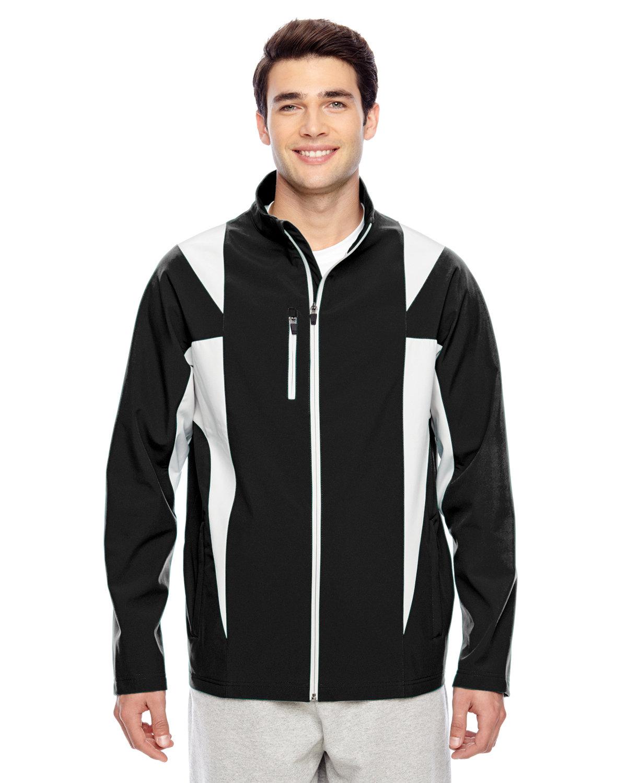 Team 365 Men's Icon Colorblock Soft Shell Jacket BLACK/ SP SILVER