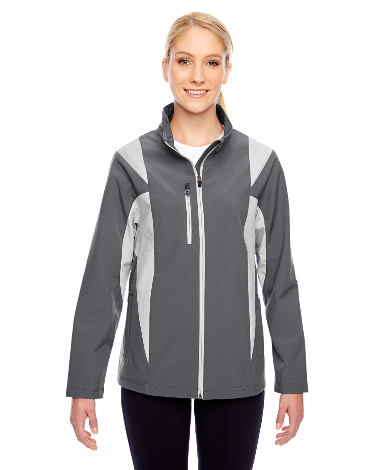 Team 365 Ladies' Icon Colorblock Soft Shell Jacket SP GRAPH/ SP SIL