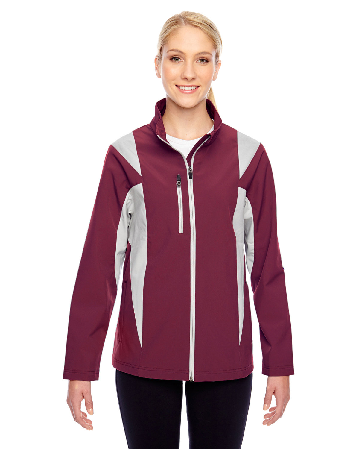 Team 365 Ladies' Icon Colorblock Soft Shell Jacket SP MARN/ SP SIL