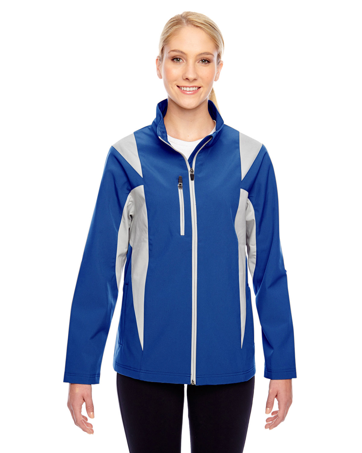 Team 365 Ladies' Icon Colorblock Soft Shell Jacket SP ROYAL/ SP SIL