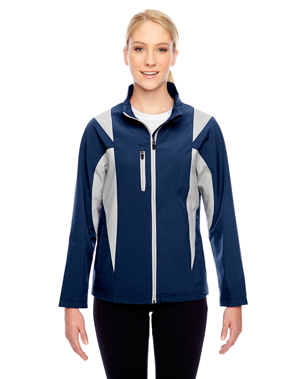 Team 365 Ladies' Icon Colorblock Soft Shell Jacket SP D NVY/ SP SIL