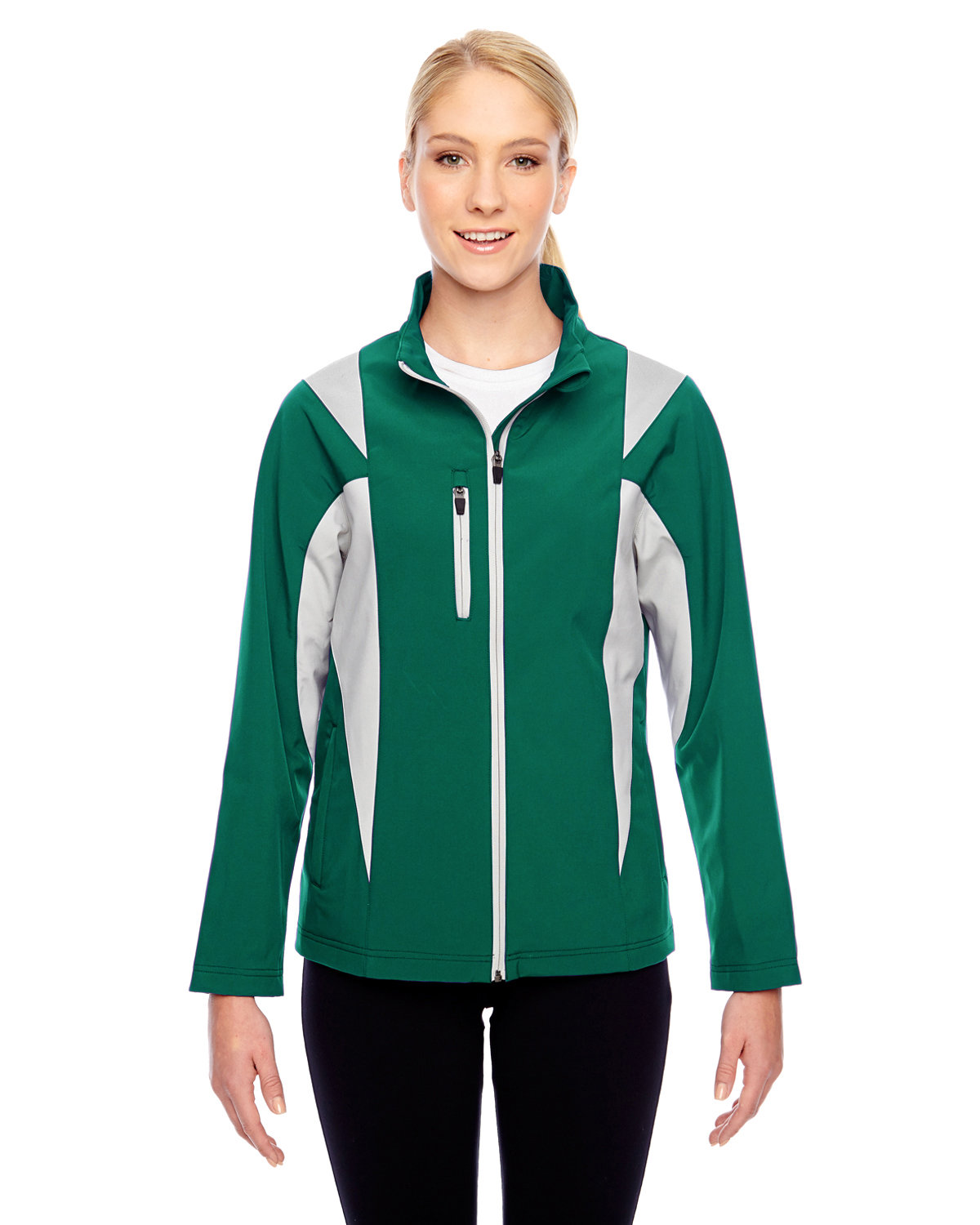 Team 365 Ladies' Icon Colorblock Soft Shell Jacket SP FORST/ SP SIL