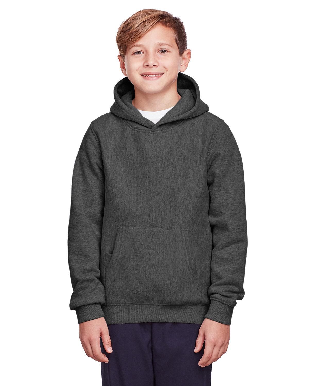 Team 365 Youth Zone HydroSport™ Heavyweight Pullover Hooded Sweatshirt DARK GREY HEATHR