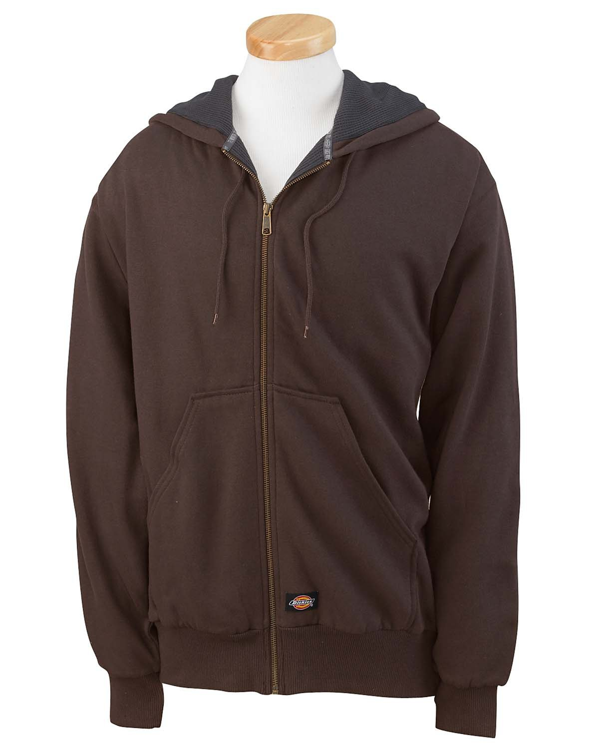 Dickies Men's 470 Gram Thermal-Lined Fleece Jacket Hooded Sweatshirt DARK BROWN