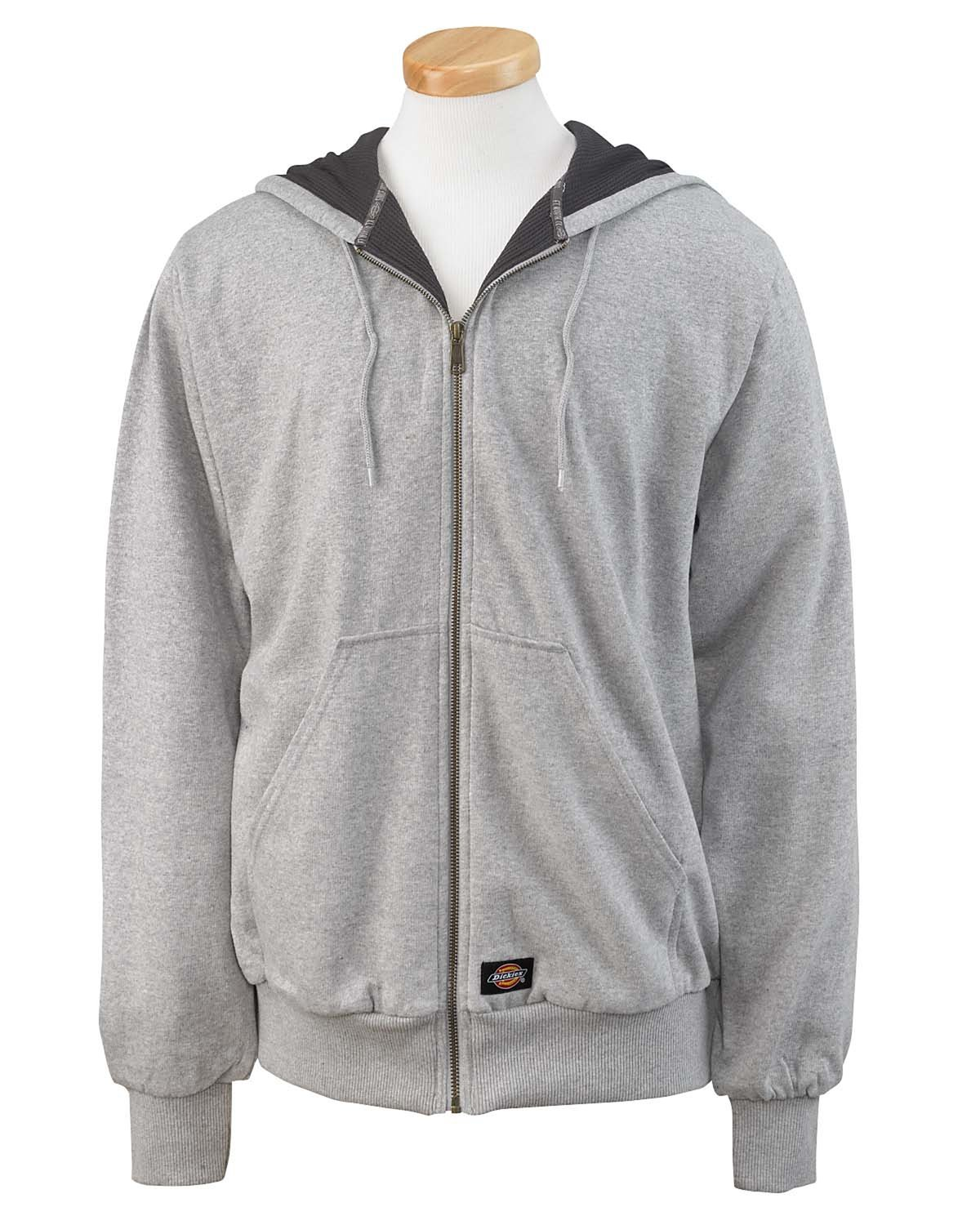 Dickies Men's 470 Gram Thermal-Lined Fleece Jacket Hooded Sweatshirt ASH GRAY