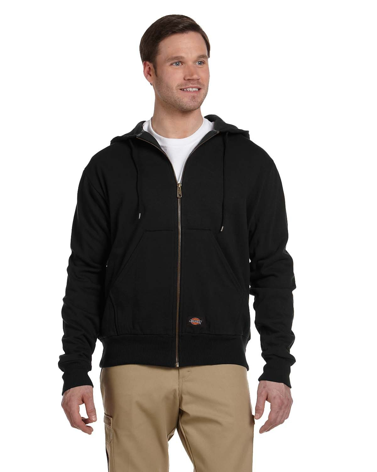 Dickies Men's 470 Gram Thermal-Lined Fleece Jacket Hooded Sweatshirt BLACK