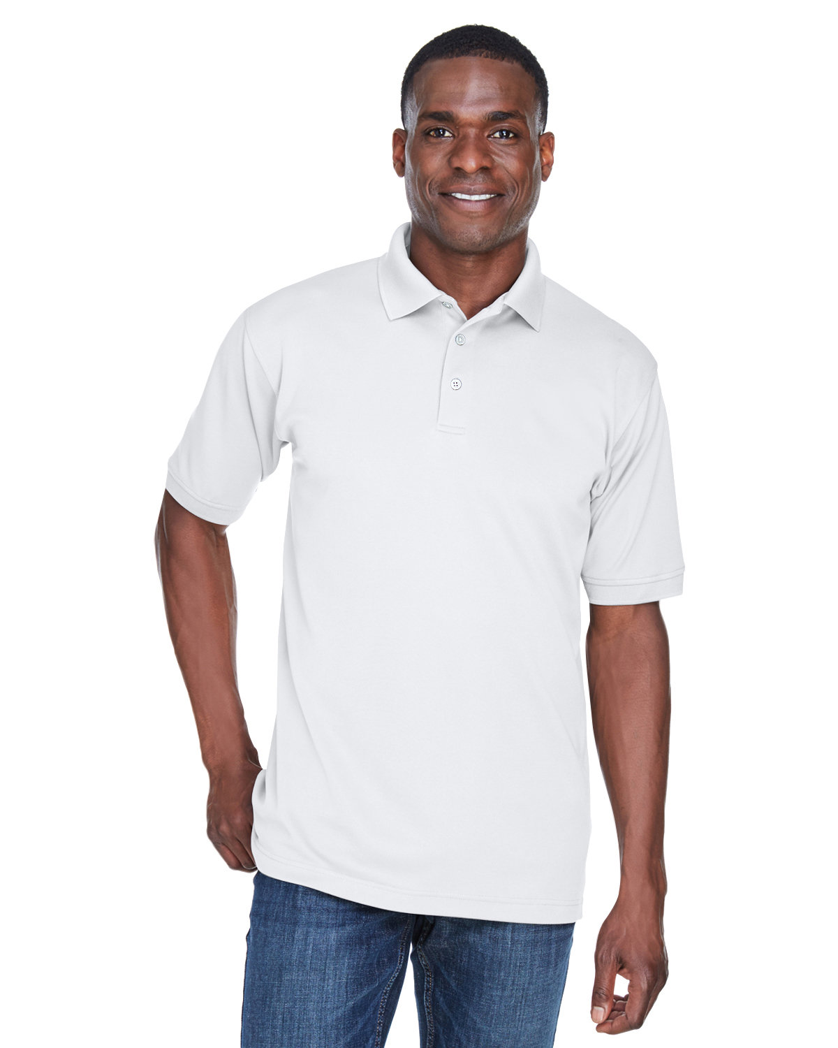 UltraClub Men's PlatinumPerformance Piqué Polo with TempControl Technology WHITE