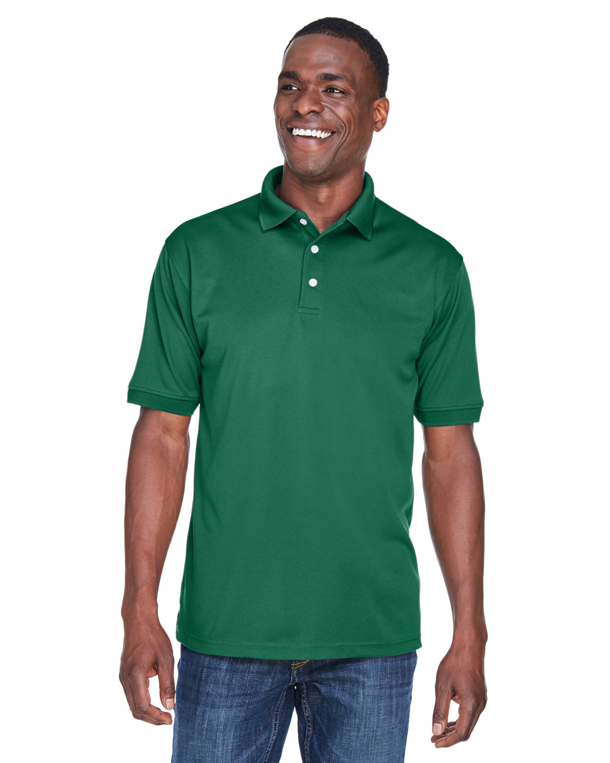 UltraClub Men's PlatinumPerformance Piqué Polo with TempControl Technology FOREST GREEN