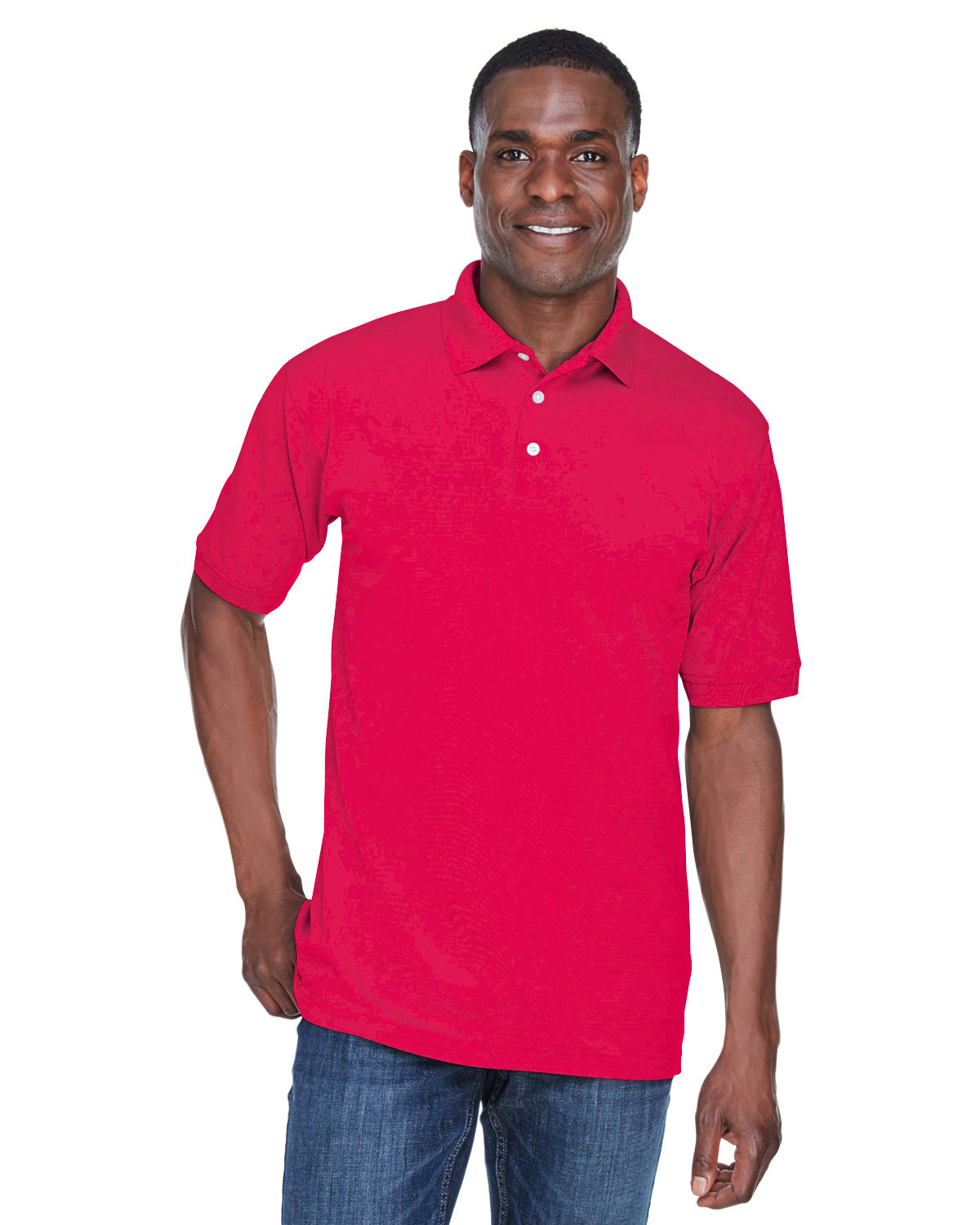 UltraClub Men's PlatinumPerformance Piqué Polo with TempControl Technology RED