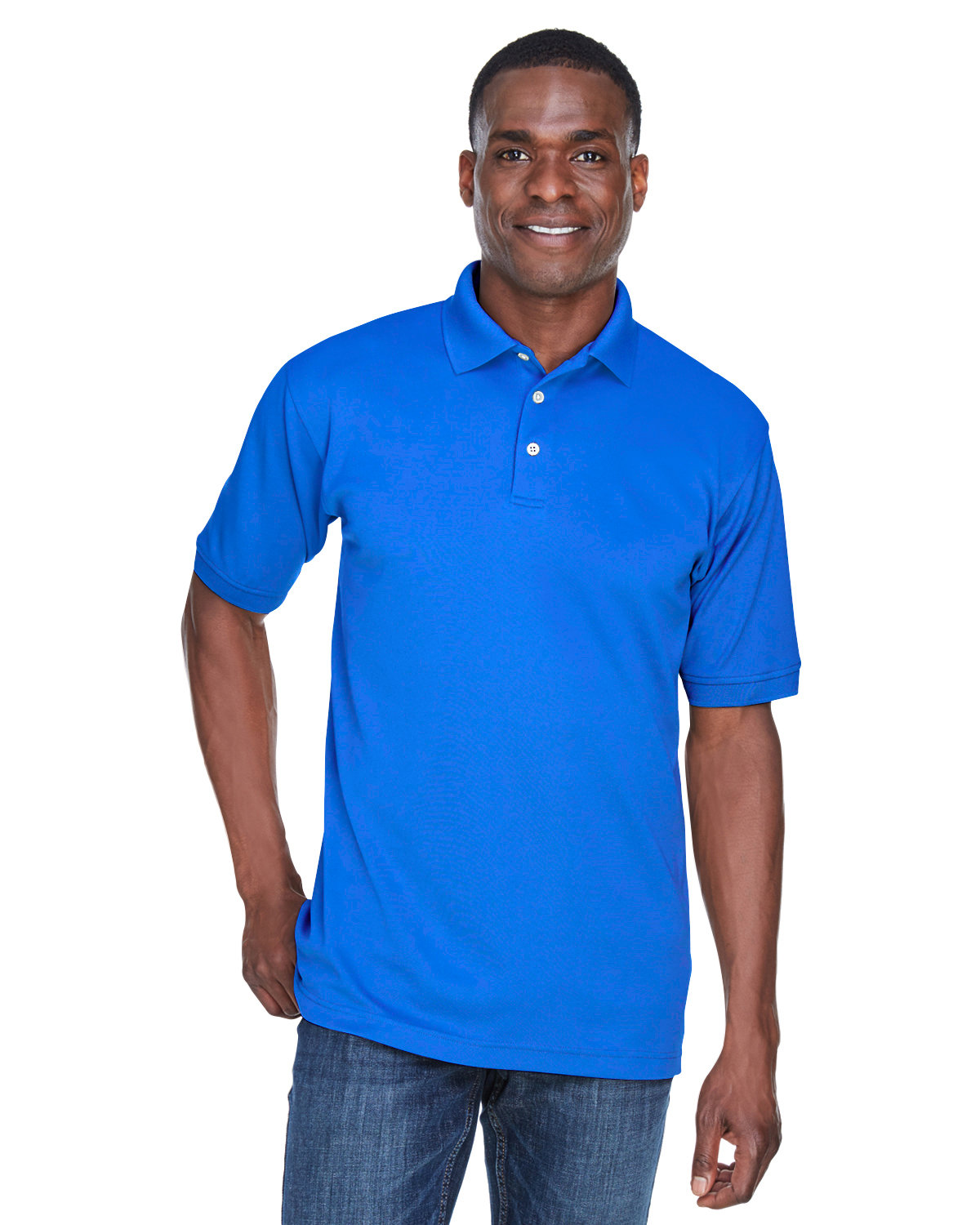 UltraClub Men's PlatinumPerformance Piqué Polo with TempControl Technology ROYAL