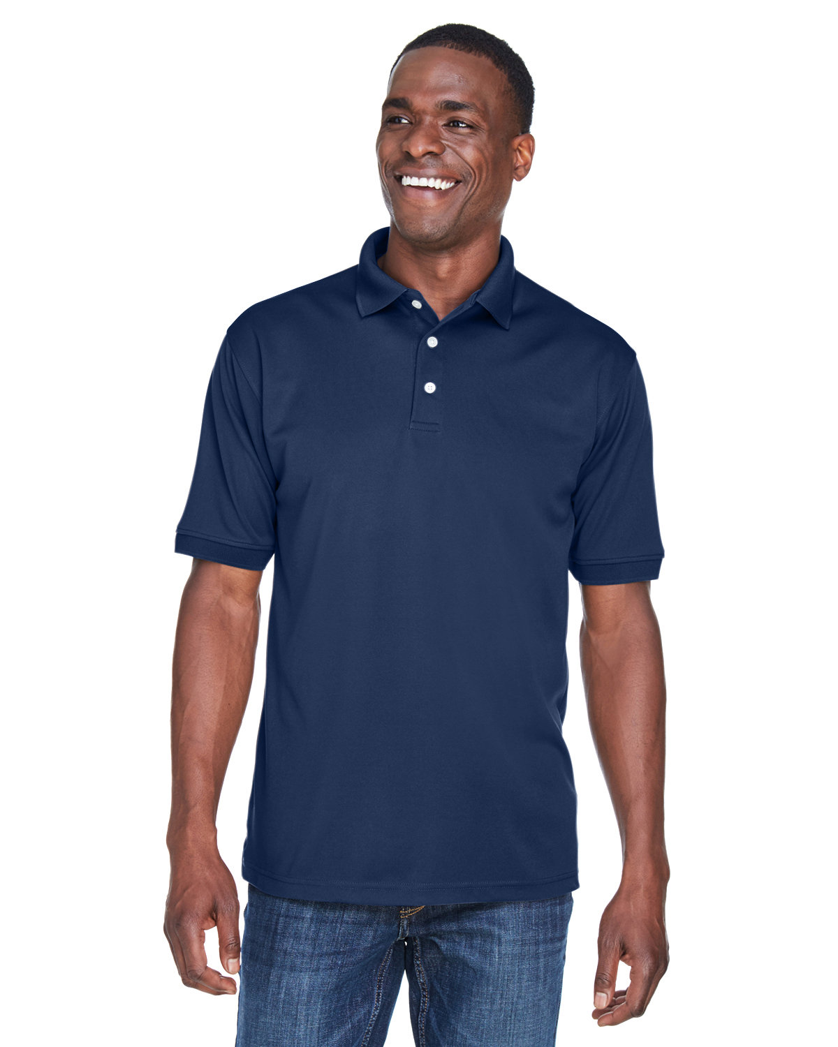 UltraClub Men's PlatinumPerformance Piqué Polo with TempControl Technology NAVY