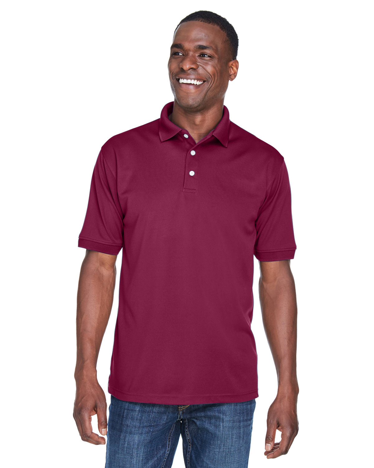 UltraClub Men's PlatinumPerformance Piqué Polo with TempControl Technology MAROON