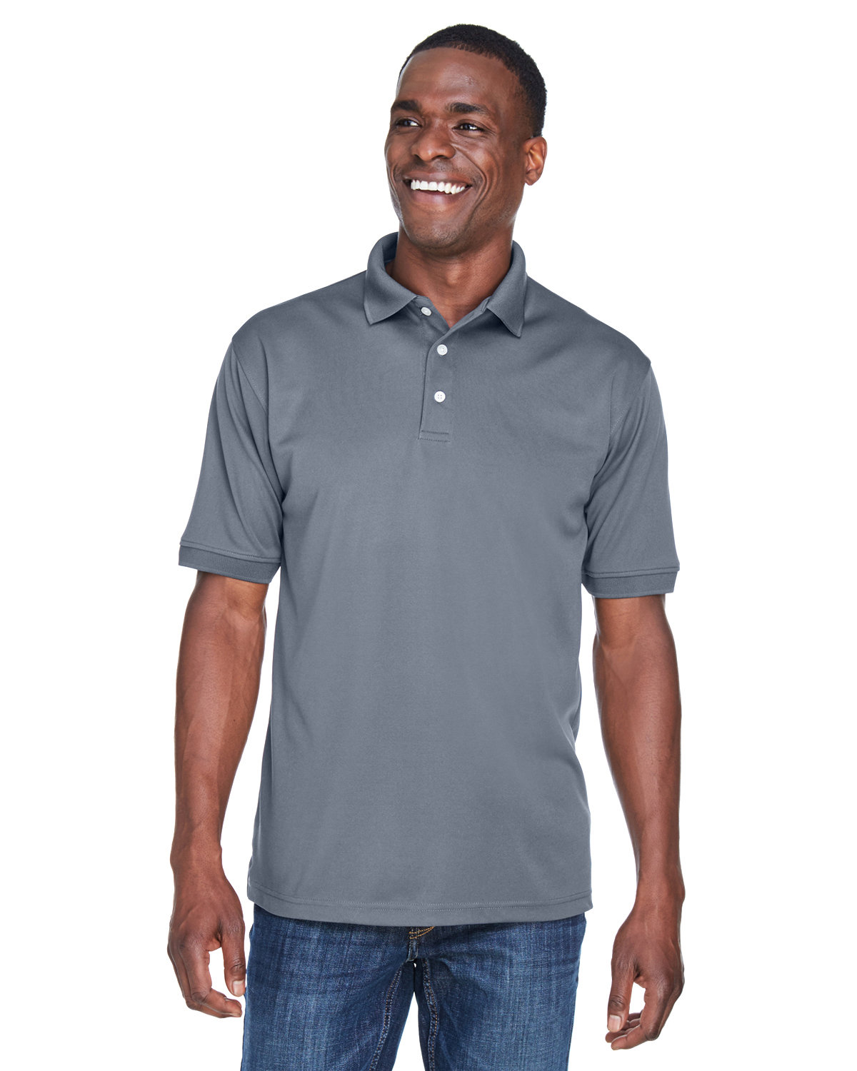 UltraClub Men's PlatinumPerformance Piqué Polo with TempControl Technology CHARCOAL