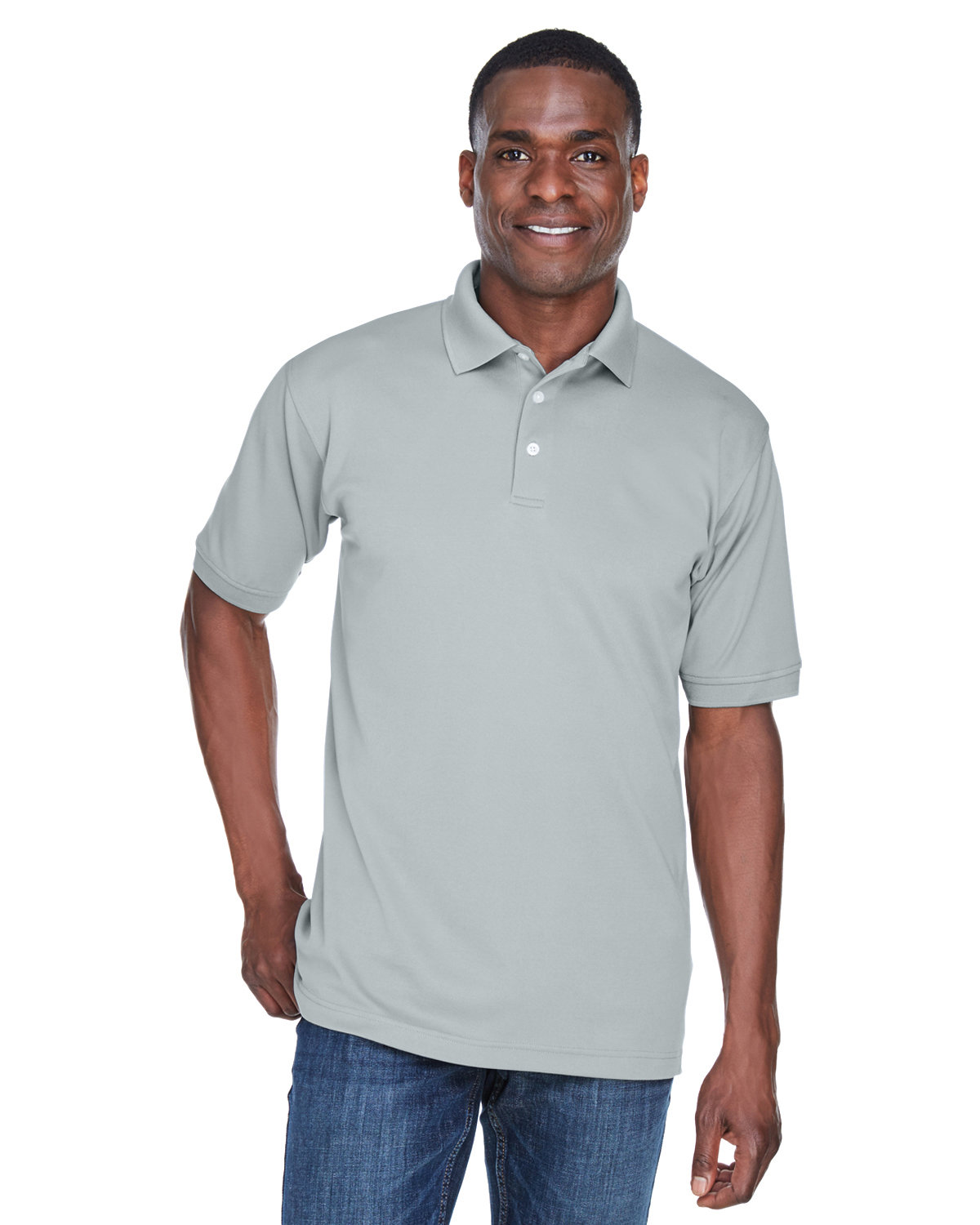 UltraClub Men's PlatinumPerformance Piqué Polo with TempControl Technology GREY