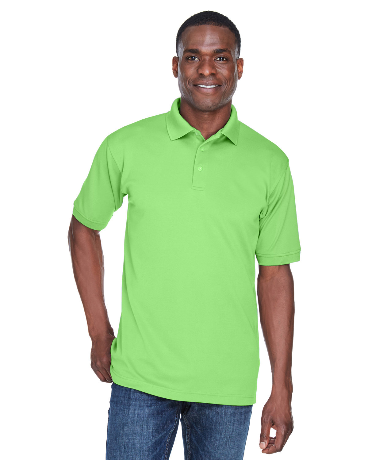 UltraClub Men's PlatinumPerformance Piqué Polo with TempControl Technology LIGHT GREEN