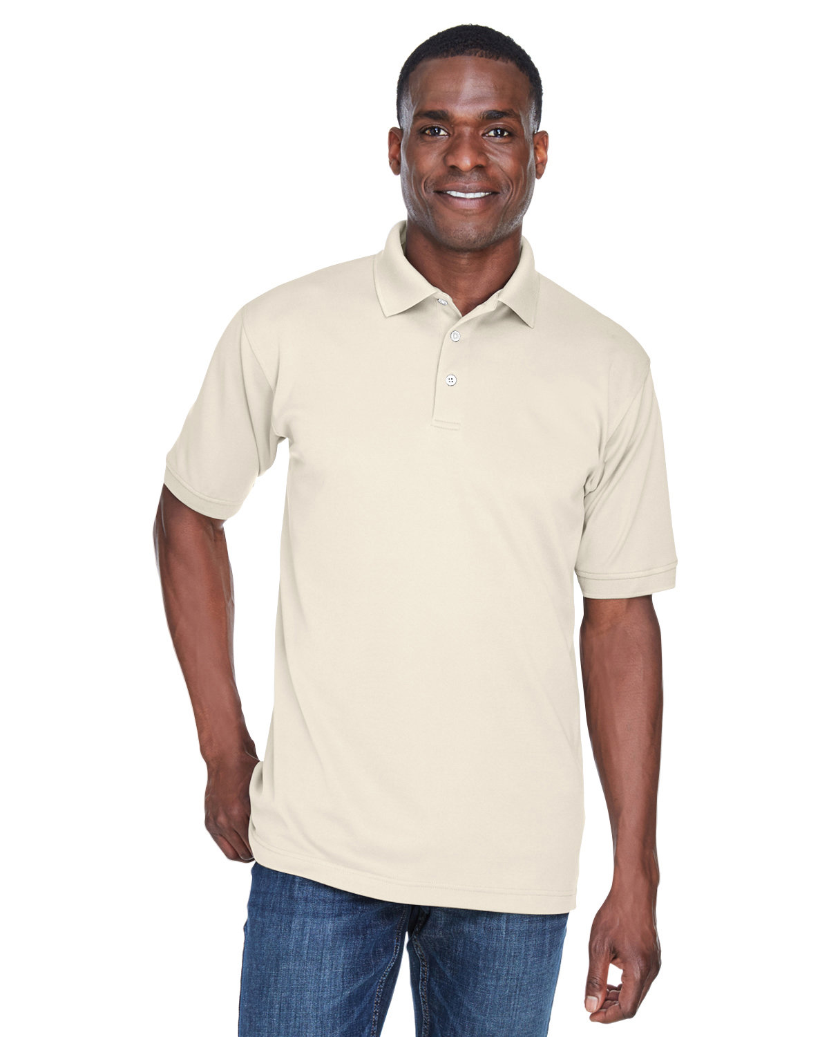 UltraClub Men's PlatinumPerformance Piqué Polo with TempControl Technology STONE