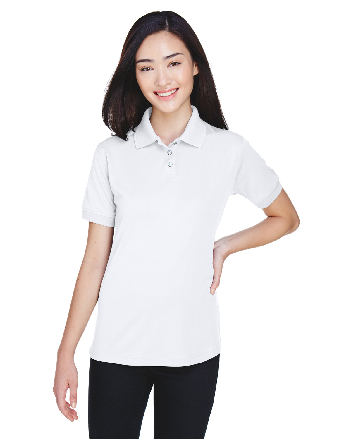 UltraClub Ladies' Platinum Performance Piqué Polo with TempControl Technology WHITE